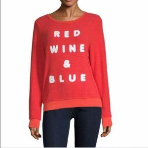 NWOT Wildfox Red Wine & Blue Sweatshirt